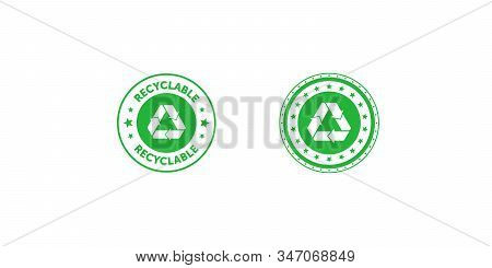 Set Of Recyclable Green Circle Badge With Mobius Strip And Stars. Design Element For Packaging Desig