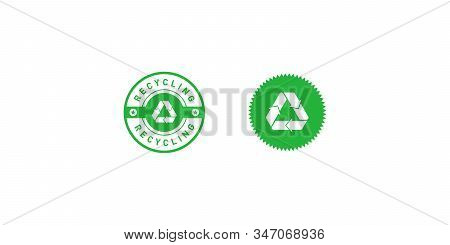Set Of Recycling Green Circle And Star Badge With Mobius Strip, Band Or Loop, Stars. Design Element