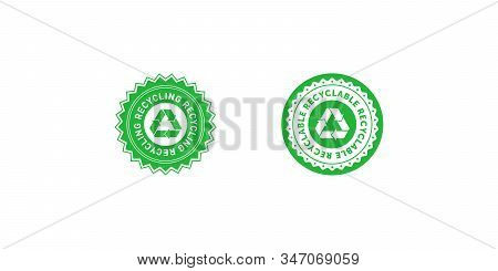 Set Of Recycling Green Star And Circle Badge With Mobius Strip. Design Element For Packaging Design