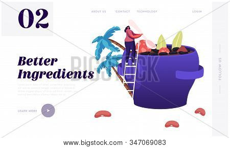 Brazil Food Website Landing Page. Tiny Woman Stand On Ladder Cooking Traditional Delicious Feijoada