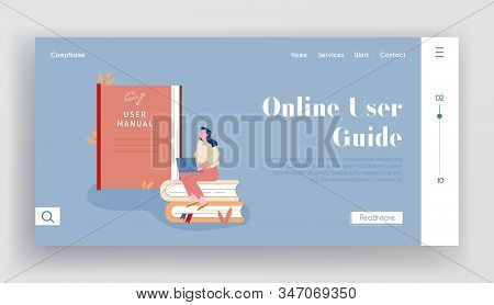 Users Manual Brochure, Faq Website Landing Page. Woman Sitting On Pile Of Books With Laptop At Huge