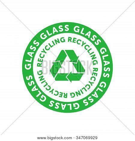 Recycling Glass Green Circle Badge With Mobius Strip, Band Or Loop. Design Element For Packaging Des