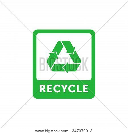 Recycle Green Rectangle Sticker With Mobius Strip, Band Or Loop. Design Element For Packaging Design