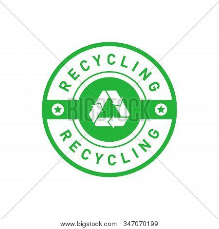 Recycling Green Circle Badge With Mobius Strip, Band Or Loop, Stars. Design Element For Packaging De