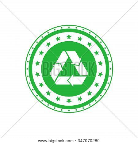 Recycling Green Circle Badge With Mobius Strip And Stars. Design Element For Packaging Design And Pr