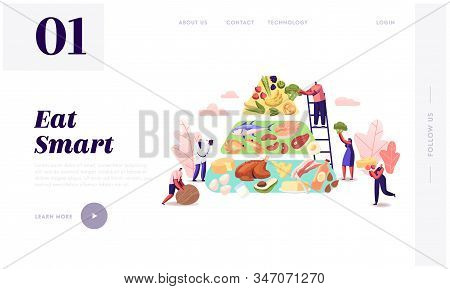Ketogenic Diet Website Landing Page. Characters Set Up Pyramid Of Selection Of Good Fat Sources, Low