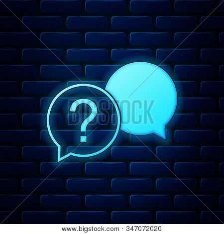 Glowing Neon Chat Question Icon Isolated On Brick Wall Background. Help Speech Bubble Symbol. Faq Si