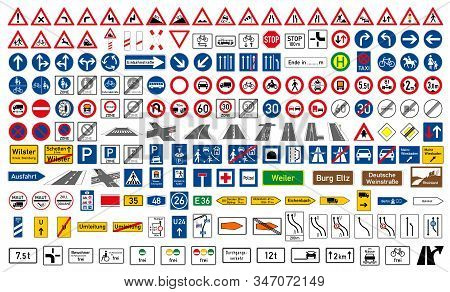 Collection Of Road Signs In Germany. One Hundred And Ninety-five Highly Detailed And Fully Editable