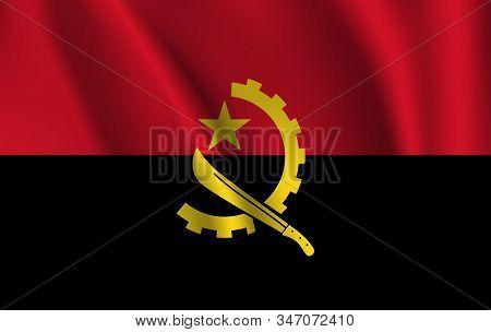 Flag Of Angola. Realistic Waving Flag Of Republic Of Angola. Fabric Textured Flowing Flag Of Angola.