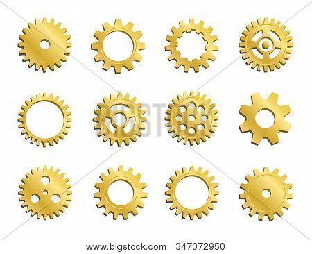 Vector Clockwork Cogwheel Collection. Set Of Gold Gear Wheels And Cogs, Golden Volumetric Icons, Dif
