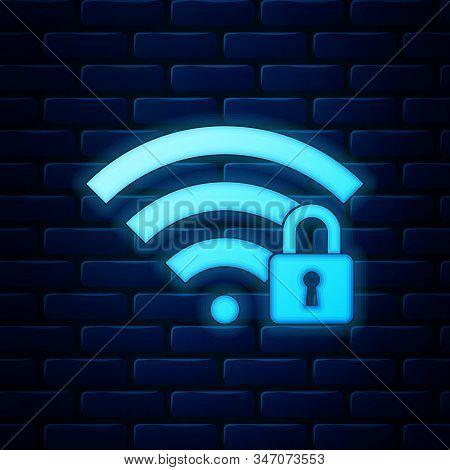 Glowing Neon Wifi Locked Icon Isolated On Brick Wall Background. Password Wi-fi Symbol. Wireless Net