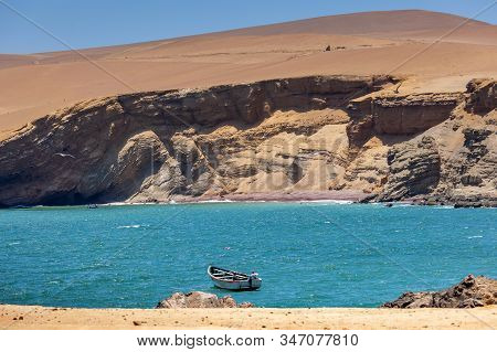 Paracas National Reserve, Colorful Sands, Desert Hills, In The Center Is A Boat, Pisco, Peru 2019-12