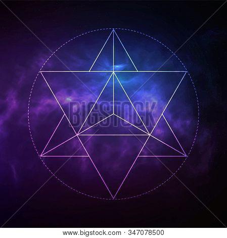 Mystical Sacred Geometry Vector Symbol Merkaba. Spirituality, Harmony Concept