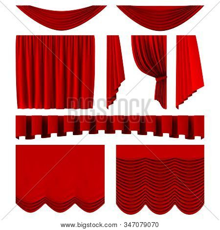 Red Stage Curtains. Realistic Theater Stage Decoration, Dramatic Red Luxurious Curtains. Scarlet Sil