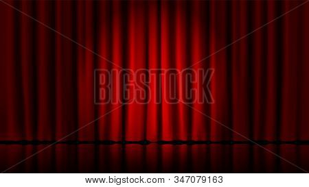 Stage Curtains Light By Searchlight. Realistic Theater Red Dramatic Curtains, Spotlight On Stage The