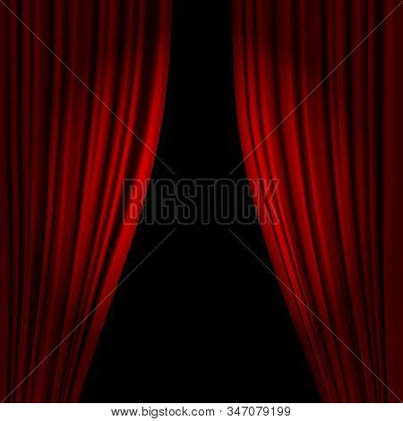Open Theatrical Stage Curtain. Realistic Circus Or Opera Curtains, Stage Red Dramatic Drapery. Scarl