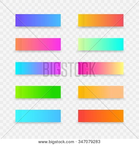 Colorful Post Note Stickers. Sticky Colourful Note Template With Gradient On Transparent Background.