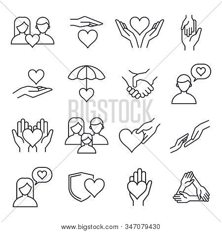 Love And Kindness Heart Line Icons. Friend, Family, Relationship And Romantic Heart Signs, Line Art