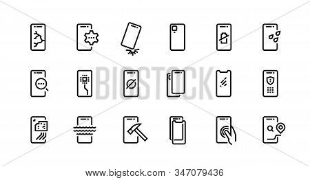 Smartphone Repair Icons. Dropped Phone With Cracked Screen, Broken Tempered Glass Protection, Water