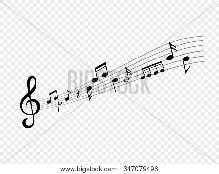 Music Notes Wave. Abstract Living Song. Musical Note And Treble Clef Signs On Score Line Waves. Vect