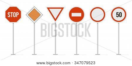 Highway Road Signs. Traffic Road, Highway Limit Speed Street Sign, Restricted Urban And Highway Symb