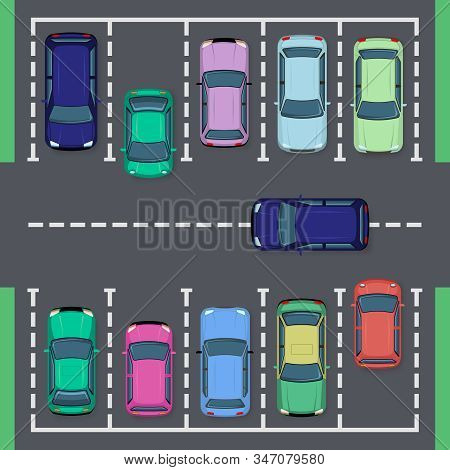 Street Car Parking. Top View Street Vehicle, Public Parking Zone Views And Auto Transport Parking Ar
