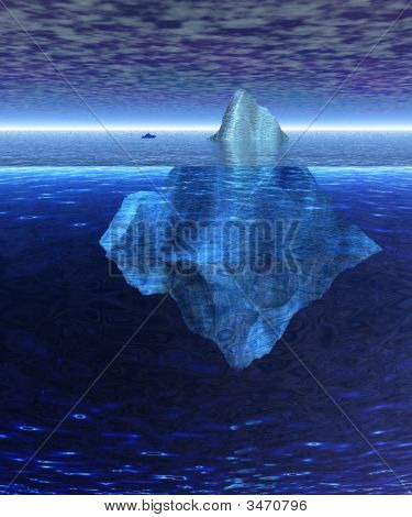 Beautiful Full Floating Iceberg In The Open Ocean With Freighter Nearby
