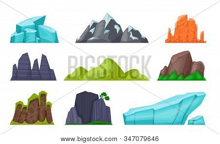 Mountain Set. Cartoon Rocky Hills And Creeks, Snowy Mountain Peaks And Glaciers, Desert Cliffs. Vect