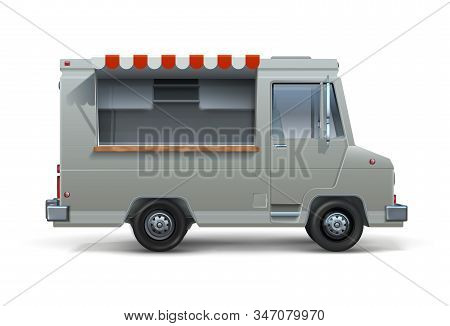 Food Truck. Realistic Mockup Of Ice Cream Or Street Food Trailer With Open Window, Canteen On Wheels