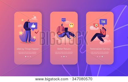 People Giving Thanks In Internet Networks Mobile App Page Onboard Screen Set. Characters Express Gra
