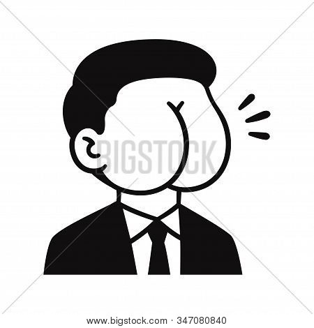 Butt Face Man In Suit, Politician Caricature. Portrait Doodle Drawing With Ass For Head. Isolated Ve