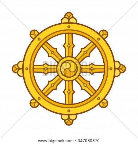 Dharmachakra (dharma Wheel) Symbol In Buddhism. Golden Wheel Sign Art. Isolated Vector Illustration.