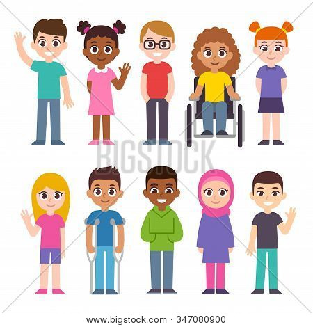 Cute Cartoon Group Of Children. Diversity And Inclusion Clip Art Illustration Set. Kids Of Different