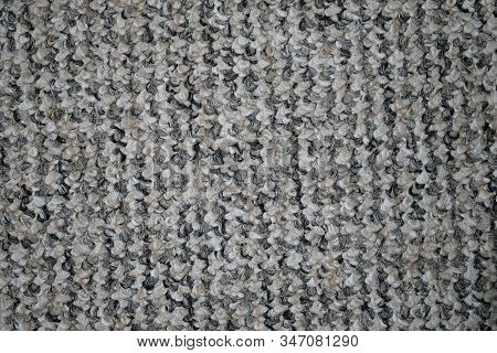 Carpet For The Floor In The Office. Gray Synthetic Carpet Background. Felt Carpet Top View Texture.