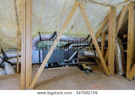 Air Conditioning System Attached To Attic Thermal Foam Plastic Insulation New Home Installation Of H