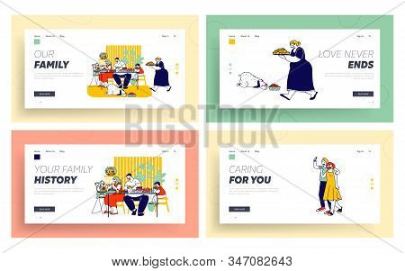 Junk Food Website Landing Page Set. Family Eating Products With High Level Fat Carbs. Mom Feeding Ba