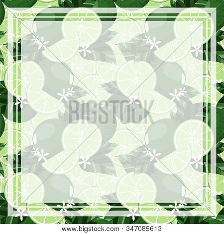 Vector Illustration Of Square Frame And Rectangle Label With Your Copy Space On Citrus Lime With Lea