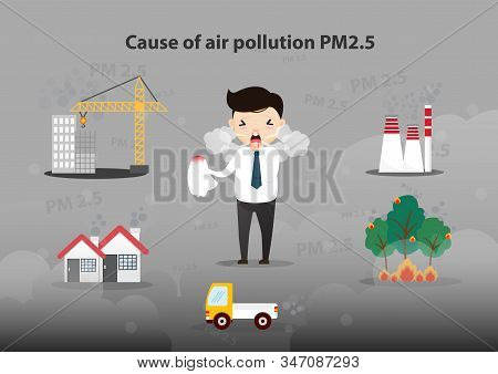 Cause Of Air Pollution Pm2.5 Infographic. Smoke, Smog, Respiratory, Environment, Health, Breath. Car