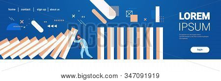 Stressed Businessman Stopping Domino Effect Crisis Management Chain Reaction Finance Intervention Co