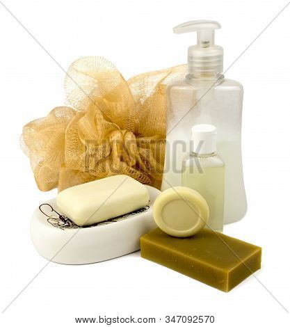 A Set Of Body Care Products In The Form Of Liquid Soap In Bottles With A Dispenser, Various Types Of