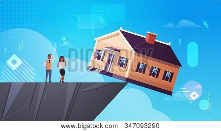 African American Man Woman Couple Looking At Falling Home In Abyss Debt For House Real Estate Housin