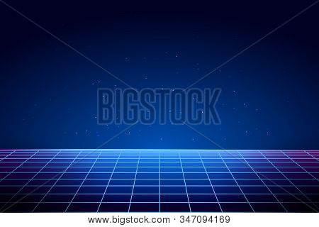 Retro Vaporwave Background. Cyberpunk Laser Grid In 80s Style. Abstract Futuristic Landscape. Vector