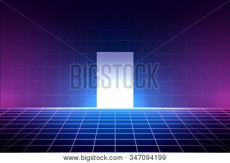 Neon Background In 80s Style, Laser Grid Illustration With Floor And Shiny White Door. Abstract Disc