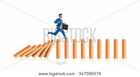Businessman Running On Falling Dominos Problem Solving Domino Effect Crisis Management Chain Reactio