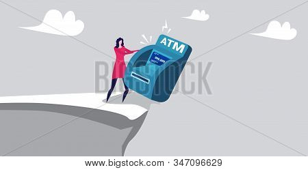 Businesswoman Pushing Atm Machine Into Abyss Financial Crisis Failure Bankruptcy Concept Horizontal