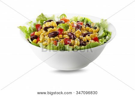Healthy Green Salad With Corn And Beans Isolated On White Background. Mexican Corn Salad.