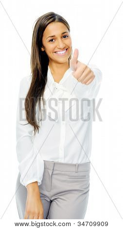 Positive hand gesture businesswoman giving thumbs up sign of motivation or encouragement. Isolated on white background.