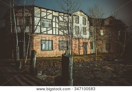 Wooden Medieval European House, Building Of An 18th-century European City, Old European-style Wooden