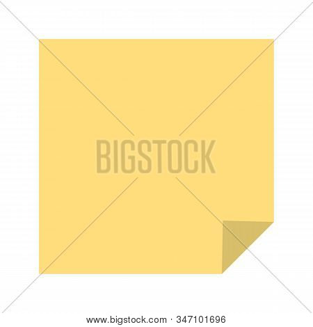 Colorful Yellow Note Sheet. Vector Isolated Notepaper.