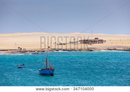 Paracas National Reserve, Colorful Sands, Desert Hills, Boat In The Bay, Buildings, Pisco, Peru
